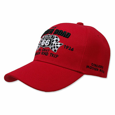 Route.66(ルート66)刺繍入りキャップ,マザーロードレーシング,レッド