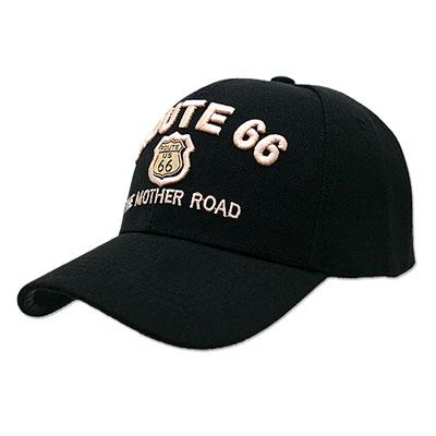 Route.66(ルート66)刺繍入りキャップ,メタルエンブレム,ブラック