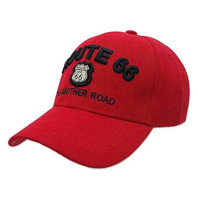 Route.66(ルート66)刺繍入りキャップ,メタルエンブレム,レッド