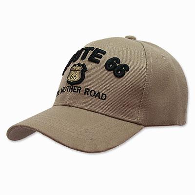 Route.66(ルート66)刺繍入りキャップ,メタルエンブレム,カーキ