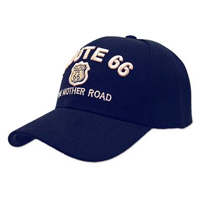 Route.66(ルート66)刺繍入りキャップ,メタルエンブレム,ネイビー