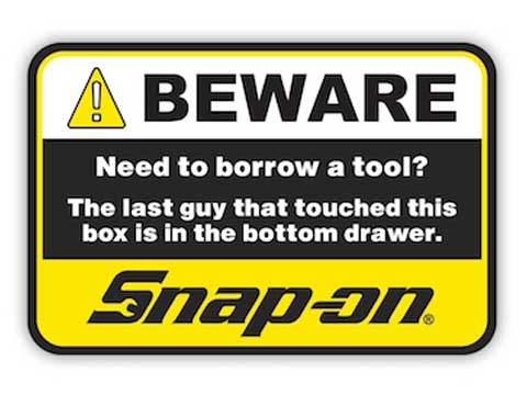 Snap-on(スナップオン)ステッカー「IN THE DRAWER DECAL - YELLOW」