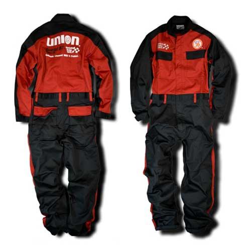 76Lubricants(ユノカル,ユニオン,ナナロク)メカニックカバーオール,長袖ツナギ,レッド/ブラック