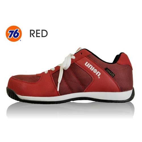 76Lubricants(ユノカル,ユニオン,ナナロク)メッシュセーフティースニーカー,鉄先芯安全靴,レッド