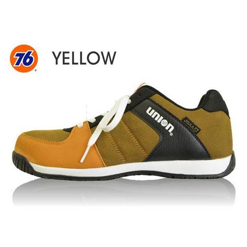 76Lubricants(ユノカル,ユニオン,ナナロク)メッシュセーフティースニーカー,鉄先芯安全靴,イエロー