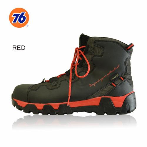 76Lubricants(ユノカル,ユニオン,ナナロク)防寒フリースセーフティーシューズ,鉄先芯安全靴,ブラック/レッド
