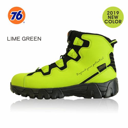 76Lubricants(ユノカル,ユニオン,ナナロク)防寒フリースセーフティーシューズ,鉄先芯安全靴,ライムグリーン