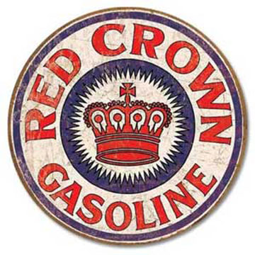 ティンサイン「RED CROWN GASOLINE ROUND」