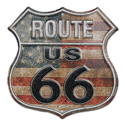 Route.66(ルート66)アルミサイン「RT.66 SHIELD - STARS AND STRIPRES」