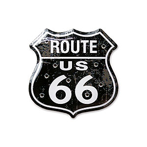 Route.66(ルート66)ピンバッジ「RT.66 SHIELD - DISTRESSED BLACK」