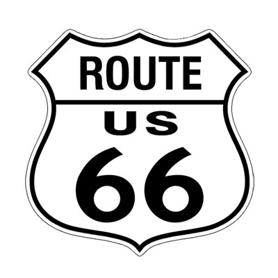 Route.66(ルート66)ステッカー「RT.66 SHIELD - WHITE」