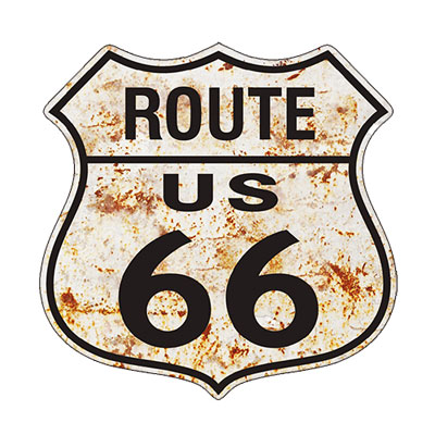 Route.66(ルート66)ステッカー「RT.66 SHIELD - RUSTY WHITE」