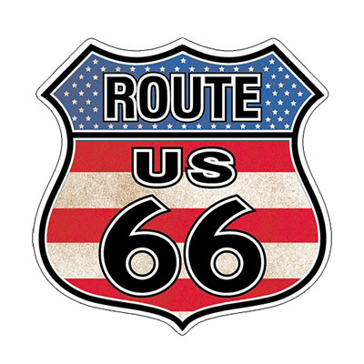 Route.66(ルート66)ステッカー「RT.66 SHIELD - FLAG」