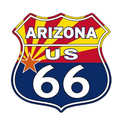 Route.66(ルート66)ステッカー「RT.66 SHIELD - ARIZONA FLAG」
