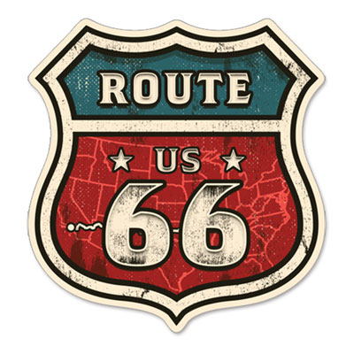 Route.66(ルート66)ステッカー「MAP OF ROUTE 66」
