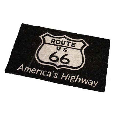 Route.66(ルート66)室外玄関用フロアマット「ROUTE 66 - BLACK」