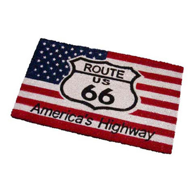 Route.66(ルート66)室外玄関用フロアマット「ROUTE 66 - U.S.A. FLAG」