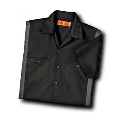 【取寄限定カラー】Dickies(ディッキーズ)カラーブロックワークシャツ ショートスリーブ<半袖> ブラック/チャコール