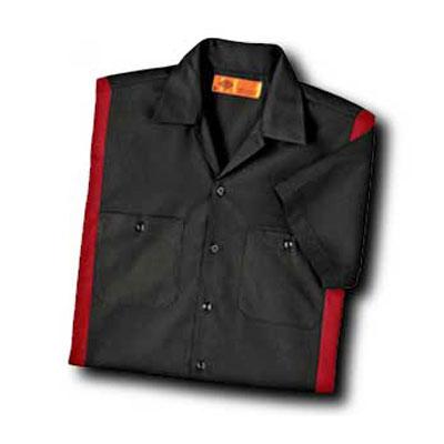 【取寄限定カラー】Dickies(ディッキーズ)カラーブロックワークシャツ ショートスリーブ<半袖> ブラック/イングリッシュレッド