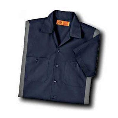 【取寄限定カラー】Dickies(ディッキーズ)カラーブロックワークシャツ ショートスリーブ<半袖> ダークネイビー/スモーク
