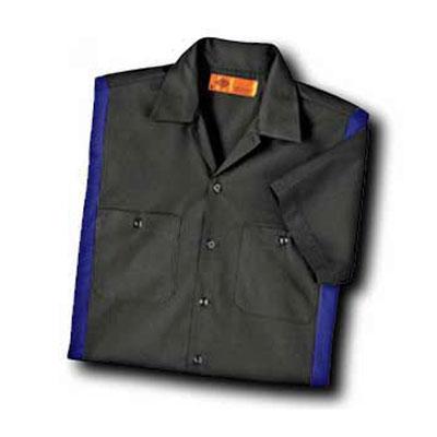 【取寄限定カラー】Dickies(ディッキーズ)カラーブロックワークシャツ ショートスリーブ<半袖> ダークチャコール/ロイヤル