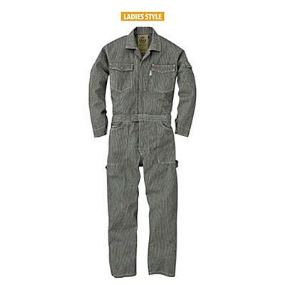 GRACE ENGINEER'S(グレースエンジニアーズ)レディース長袖つなぎ GE-105 ブラックヒッコリー