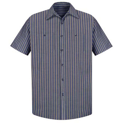 REDKAP(レッドキャップ)インダストリアルストライプワークシャツ(半袖) ネイビー/カーキ