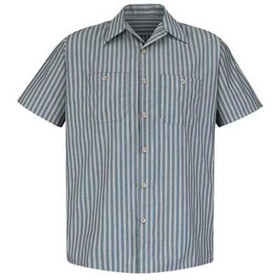 REDKAP(レッドキャップ)インダストリアルストライプワークシャツ(半袖) グリーン/カーキ