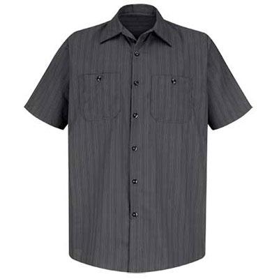REDKAP(レッドキャップ)インダストリアルストライプワークシャツ(半袖) チャコール/ブルー/ホワイト