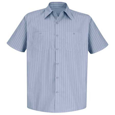 REDKAP(レッドキャップ)インダストリアルストライプワークシャツ(半袖) ライトブルー/ネイビー