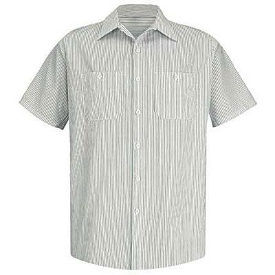 REDKAP(レッドキャップ)インダストリアルストライプワークシャツ(半袖) ホワイト/グリーン