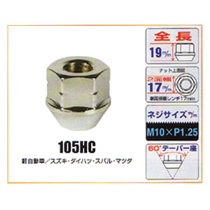 KYO-EI(協永産業)貫通ナット【105HC】17mm,M10×P1.25
