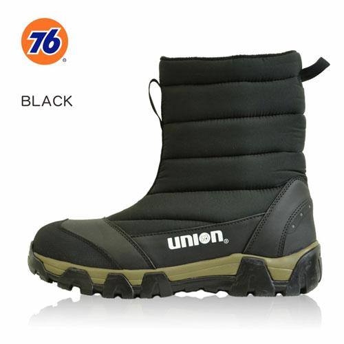 76Lubricants(ユノカル,ユニオン,ナナロク)防寒防水安全キルトブーツ,鉄先芯安全靴,ブラック