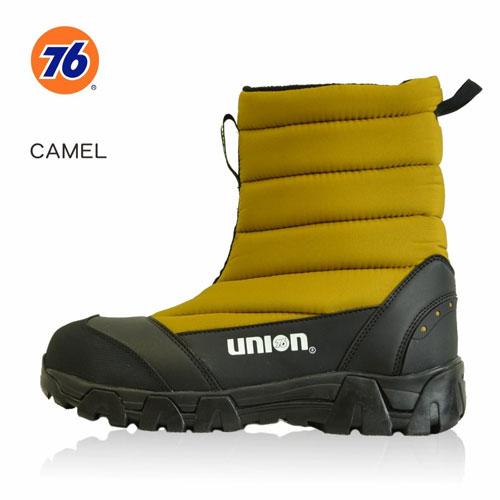 76Lubricants(ユノカル,ユニオン,ナナロク)防寒防水安全キルトブーツ,鉄先芯安全靴,キャメル