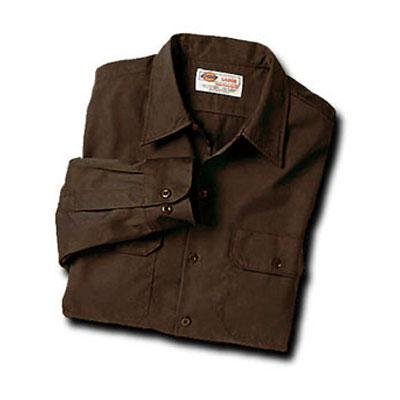【取寄限定カラー】Dickies(ディッキーズ)ワークシャツ ロングスリーブ<長袖> ダークブラウン