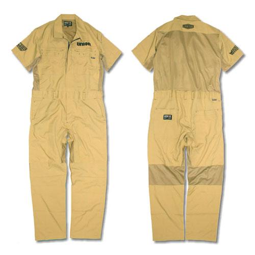 76Lubricants(ユノカル,ユニオン,ナナロク)メッシュカバーオール,夏用半袖ツナギ,ベージュ