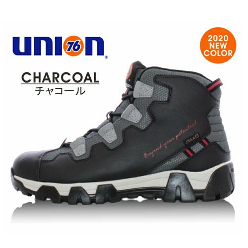 76Lubricants(ユノカル,ユニオン,ナナロク)防寒フリースセーフティーシューズ,鉄先芯安全靴,ブラック/チャコール