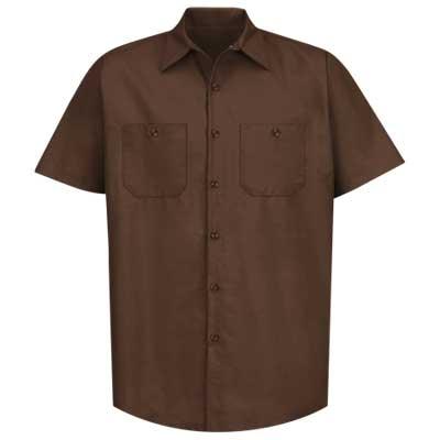 【取寄限定カラー】REDKAP(レッドキャップ)インダストリアルワークシャツ(半袖) チョコレートブラウン