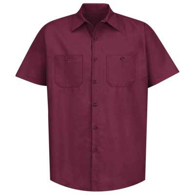 【取寄限定カラー】REDKAP(レッドキャップ)インダストリアルワークシャツ(半袖) バーガンディ