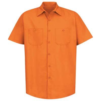 【取寄限定カラー】REDKAP(レッドキャップ)インダストリアルワークシャツ(半袖) オレンジ